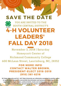 South Central District 4-H Volunteer Leaders' Fall Day flyer image