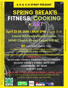 Cover photo for 4-H and 4-H EFNEP Present Spring Break's Fitness, Cooking, & Art
