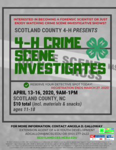 Cover photo for POSTPONED! 4-H Crime Scene Investigates