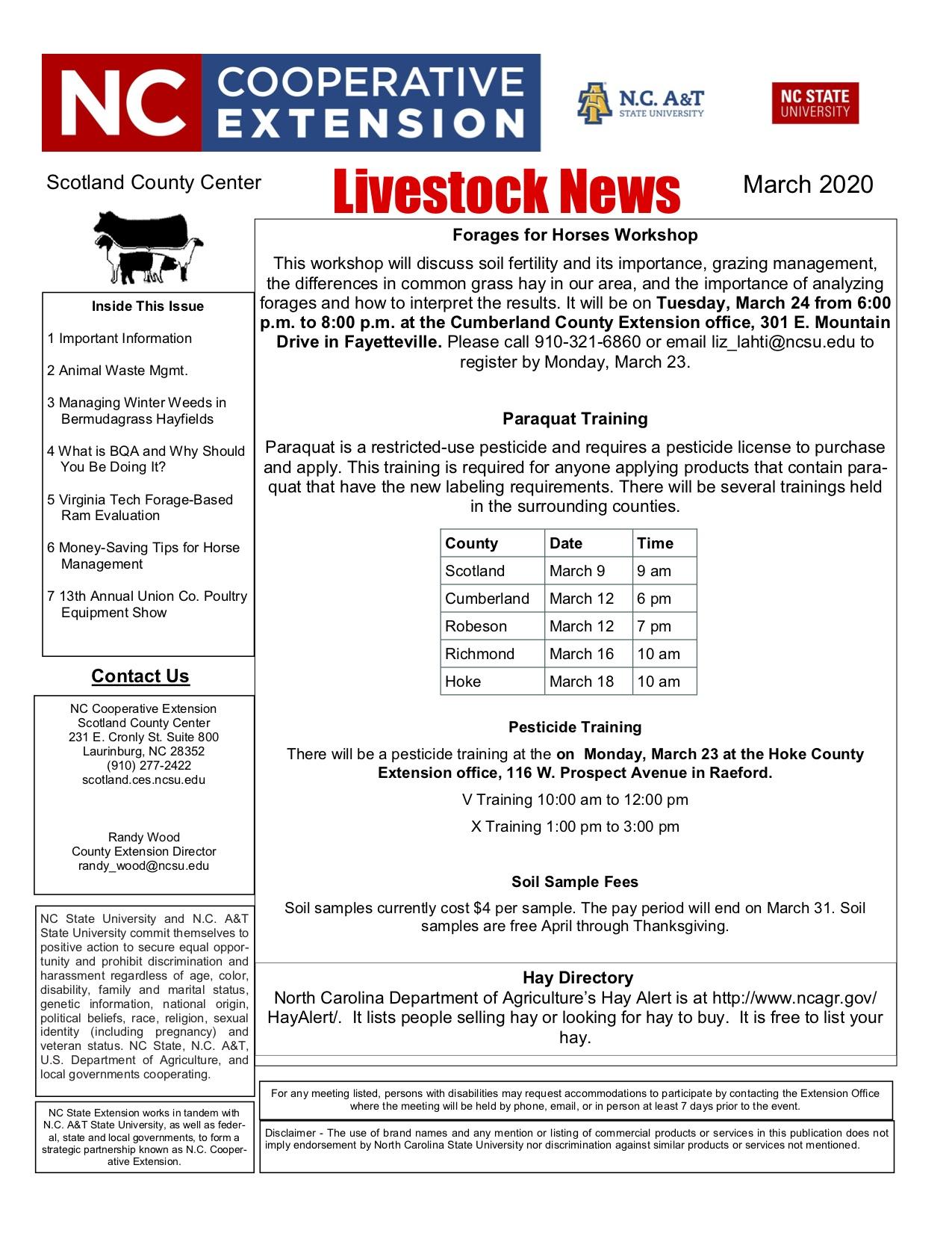 Livestock newsletter screen shot image