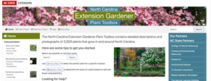 screenshot of Extension Gardener Plant Toolbox