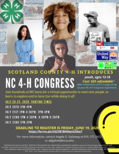 NC 4H Congress 2020 flyer