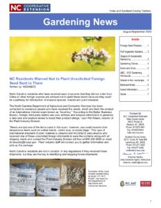 Cover photo for August/September Gardening Newsletter