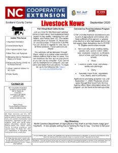 Cover photo for September 2020 Livestock Newsletter