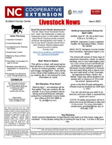 Cover photo for March 2021 Livestock Newsletter
